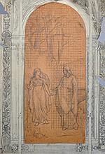 Circle of Henry James Holiday (1839-1927) British. A Design for a Window, with Inset of Jesus and Mary, Pencil, Unframed, overall 13.75