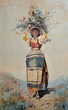 Domenico De Angelis (1852-1904) Italian. An Italian Girl Standing in a Landscape, with Kindling on her head, Watercolour, Signed and Inscribed 'Roma', 20.25