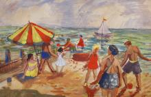 "Leonard Rosoman (1913-2012) British. A Beach Scene with Figures by an Umbrella, Watercolour, Signed, 8.75"" x 13.25""."