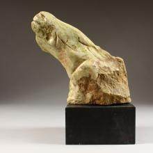 SVEN BERLIN (1911-1999) BRITISH, ST IVES Study of a horse's head, on black slate plinth base. Signed and Incised. Monogrammed on base. Circa. 1950's. Medium in Egyptian Green Stone. 8ins x 3.75ins.