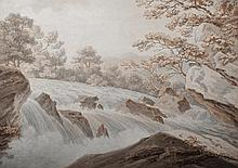 Thomas Sunderland (1744-1823) British. A Mountainous River Landscape, Pen and Brown Ink with Grey an