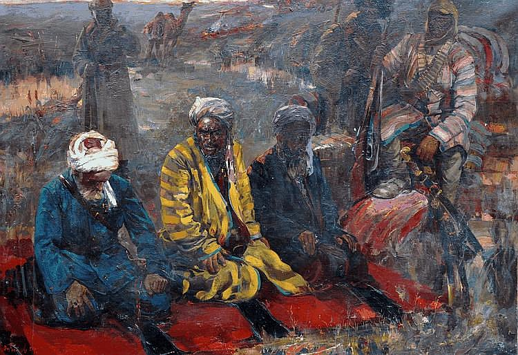 Vladimir Vassilievitch Kuznetsov (1924-   ) Russian. Three Khans at Prayer, Oil on Canvas, Signed an