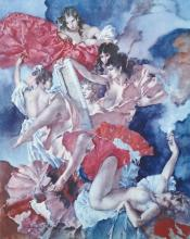 William Russell Flint (1880-1969) British. Spanish Dancing Girls, Lithograph, Signed in Pencil, with Printers Stamp, 22.5
