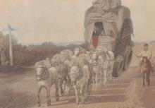 19th Century English School. Horses with a Wagon, Engraving, 9.5