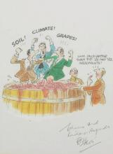 Bill Tidy (1933-   ) British. 'The Pleasure of Drinking Wine', 'Soil! Climate! Grapes!, Hmm.. 'Much Better Than The '81 and '82 Arguments!', Print, Signed and Inscribed 'Cheers and Kindest Regards' in Ink, 7.75
