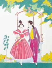 Lucien Baubaut (20th Century) French. A Couple Standing by a Well, Lithograph, Signed in Pencil, overall 12.25