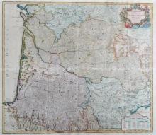 18th Century French School. 'Gouvernement, General de Guinne et Gascogne, Dedis au Roy', Map, overall 35