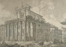 After Giovanni Battista Piranesi (1720-1778) Italian. 'Veduta del Tempio di Antonino e Faustina in Campo Vaccino', Print, in Fine Gilt Frames, 16
