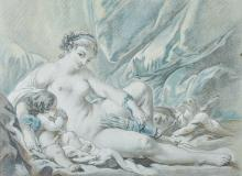 After Francois Boucher (1703-1770) French. Venus and Cupid, Engraving by L. Bonnet 1766, 11.25