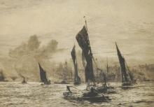 William Lionel Wyllie (1851-1931) British. 'The Pool of London', Etching, Signed in Pencil, 15.5