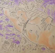 After Henri Matisse (1869-1954) French. A Reclining Nude, Mixed Media, bears a Signature in Pencil, 19.5