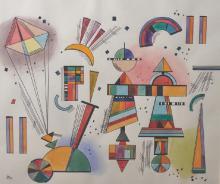 After Joan Miro (1893-1983) Spanish. Symbols, Watercolour, bears an artist's mark, 11.75