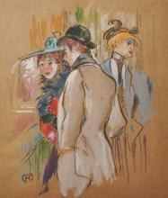 After Henri de Toulouse-Lautrec (1864-1901) French. Elegant Figures, Mixed Media, bears a Monogram, 12