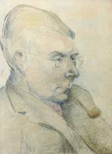Circle of Stanley Spencer (1891-1959) British. Bust Portrait of a Man Smoking a Pipe, Watercolour and Pencil, Signed with Initials 'TC' (Constantine), 15