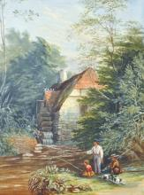 19th Century English School. Children Fishing by a Mill, Watercolour, Unframed, 19.5