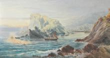 19th Century English School. A Coastal Scene with Shipping, Watercolour, Unframed, 10.75