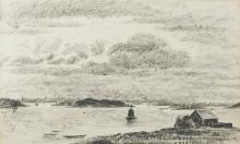 """Charles Tcherniawsky (1900-1976) Russian. 'La Trinite Sur Mer, Britany 1935', Pen and Ink, 12"""" x 19.5"""". Provenance; Gallery 2, London."""