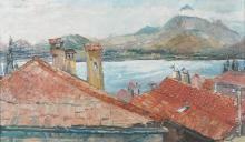 """Edward Bainbridge Copnall (1903-1973) British. 'Lake Como', with Rooftops in the foreground, Oil on Board, Indistinctly Signed, 14.5"""" x 24""""."""