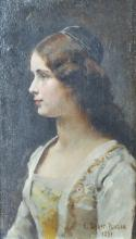 Edouard Bernard Debat-Ponsan (1847-1913) French. Portrait of a Young Girl, Oil on Panel, Signed and Dated 1891, in a Gilt Barbizon Frame, 12.5