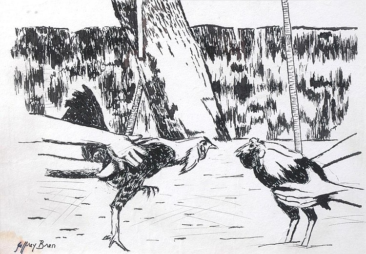 JEFFREY BREN (b. 1944) AUSTRALIAN Cockfighting