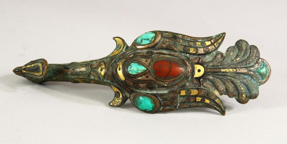 A RARE EARLY PHOENIX ENAMELLED AND GILDED BELT BUCKLE, 18cm long.