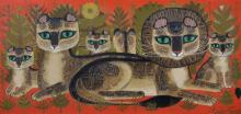 """Sheila Flinn (1929- ) British. A Pride of Lions in a Landscape, Oil on Canvas, Signed, 10"""" x 20""""."""