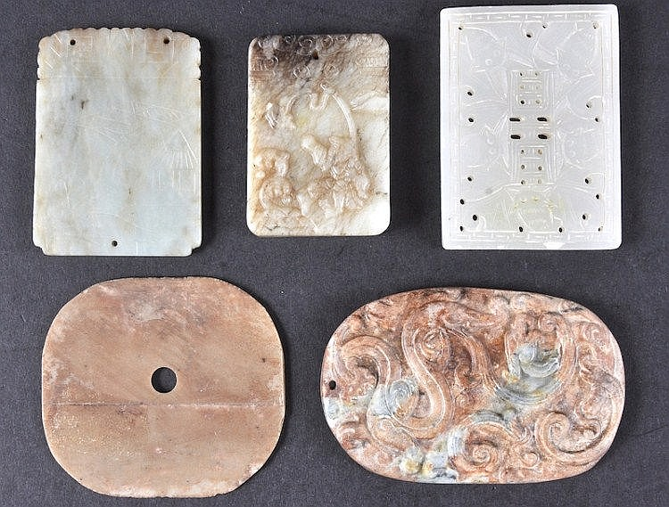 A CHINESE CARVED JADE MING STYLE SQUARE TABLET