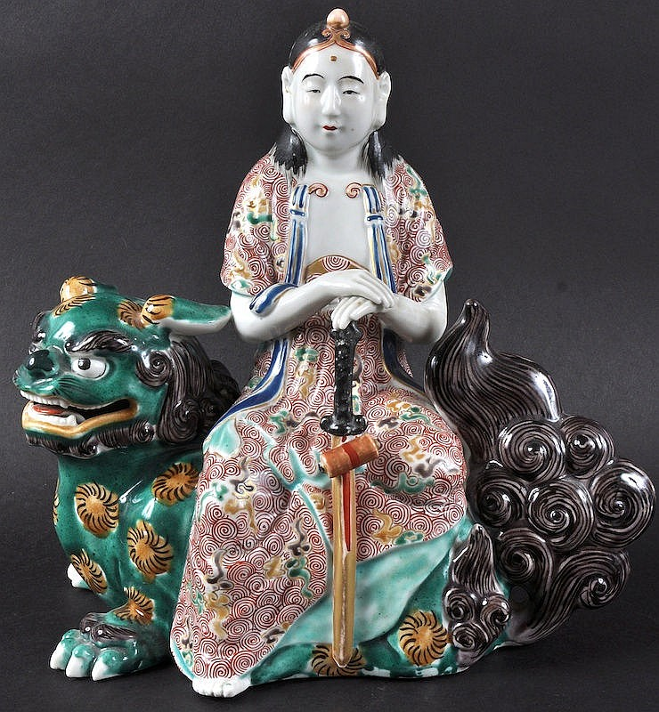 A 19TH CENTURY JAPANESE AO KUTANI FIGURE OF A