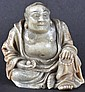 A 19TH CENTURY CHINESE CARVED SOAPSTONE FIGURE OF