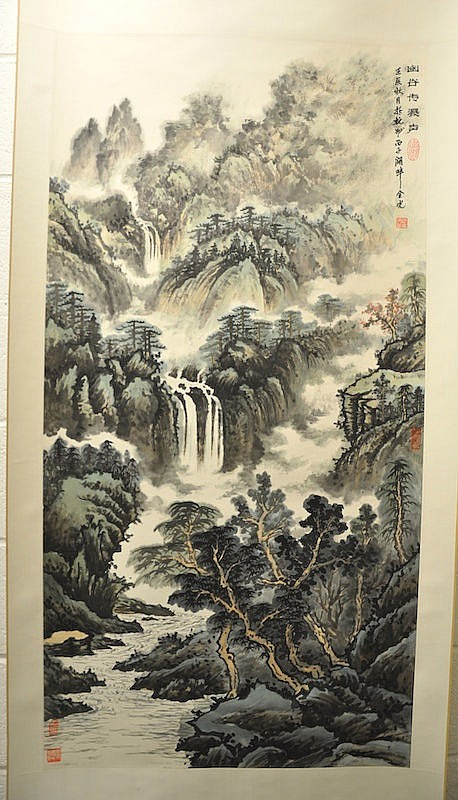 A CHINESE INKWORK LANDSCAPE SCROLL. Signed. Good
