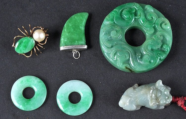 A CHINESE CIRCULAR JADEITE BI DISC together with