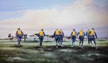 Terrence Brind (20th - 21st Century) British. 'Eagle Squadron Scramble', Lithograph, Signed and numbered 101/825 in Pencil, Unframed, overall 17.5