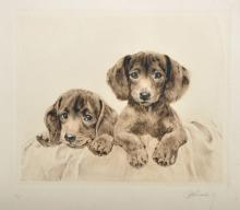 20th Century French School. 'Young Puppies, Etching, Indistinctly Signed, Unframed, 7.5