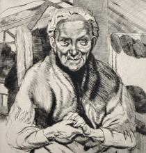 20th Century English School. Portrait of an Old Lady, Drypoint Etching, Unframed, 9.75
