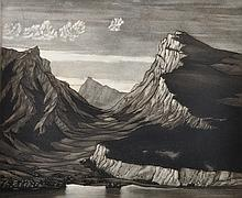 Sydney Langford Jones (1888-1948) British. A Mountainous River Landscape, Mezzotint, Signed in Pencil, Unframed, 9