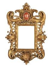 19th Century Italian School. A Pierced Swept Florentine Frame, with a Coat of Arms, 6