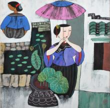 20th Century South East Asian School. A Lady with a Parasol, Gouache, Signed with Seal, 11.5