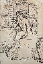 Circle of John Everett Millais (1829-1896) British. Study of a Lady, Seated in an Interior, Ink, 8