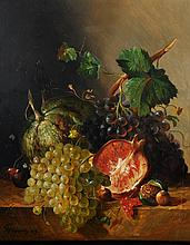 """Francois Joseph Huygens (1820-1908) Dutch. Still Life of Fruit on a Stone Ledge, Oil on Panel, Signed and Dated '49, 22"""" x 17""""."""