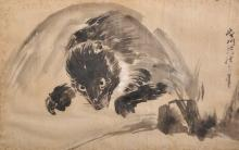 Kano Eisenin Michinobu (1730-1790) Japanese. Study of a Leaping Rodent, Wash, Signed, and Inscribed on the reverse, 9
