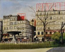 G... Palazo (20th Century) French. 'Place Pigalle, Paris', a Street Scene, Oil on Canvas, Inscribed on the reverse, Unframed, 7.5
