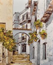Bernard Dufour (1922-2016) French. 'Majorcan Street', Oil on Canvas, Signed, 18
