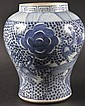 A CHINESE QING DYNASTY BLUE AND WHITE BALUSTER JAR