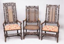 THREE LATE 17TH CENTURY WALNUT ARMCHAIRS, all with carved cresting rails, cane work back panels, barley twist supports, two seats upholstered, the other caned, on turned and barley twist legs and stretchers.