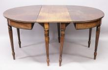 AN EARLY 19TH CENTURY MAHOGANY DINING TABLE, comprising of a pair of