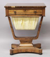 A WILLIAM IV ROSEWOOD WORK TABLE, with a single frieze drawer, pleated basket below on curving supports, with concave sided base on bun feet. <br>1ft 9.5ins wide x 1ft 3.5ins deep x 2ft 4ins high.