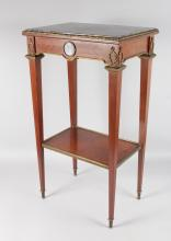 A LATE 19TH/20TH CENTURY FRENCH MAHOGANY, ORMOLU AND MARBLE TABLE, with inset marble top, the frieze applied with a Wedgwood Jasper ware plaque, drawer to one end on tapering square legs united by an under-tier. <br>1ft 4ins wide x 1ft 0ins deep x 2ft 6ins high.