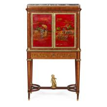 A 19TH CENTURY FRENCH LACQUER CABINET ON STAND by MAISON GIROUX, the marble top with pierced gallery above a pair of Chinese lacquered doors enclosing pigeonholes and nine small drawers, the whole raised on a base with sliding secretaire, on square tapering legs with uniting stretcher, surmounted by a gilt bronze bacchic infant.  Bears makers label MAISON ALPH GIROUX, BOULEVARD DES CAPUCINE 43, BRONZE EBONISTERIE/PAPETIE CAPREMENTS COULEUR/TABLEAUX ET DESSINS JOUETS D'ENFANTS. <br>2ft 8ins wide, 4ft 8ins high, 1ft 4.5ins deep.