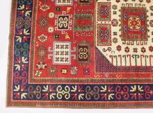 A PERSIAN RUG OF GEOMETRIC DESIGN WITH DOUBLE BORDERS. <br>264cms x 177cms (8ft 8ins x 5ft 9ins).