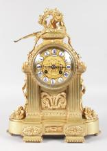 A GOOD 19TH CENTURY FRENCH ORMOLU MANTLE CLOCK, Retailed by RICHMOND 11 Blvd Montmartre, with eight-day movement striking on a single bell, No. 7155, stamped H. & F. PARIS, the superb case with oval patrea, garlands of flowers and surmounted by a laurel wreath and flaming torch. <br>15ins high.